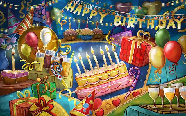 afbeelding verjaardag taart snoep drinken