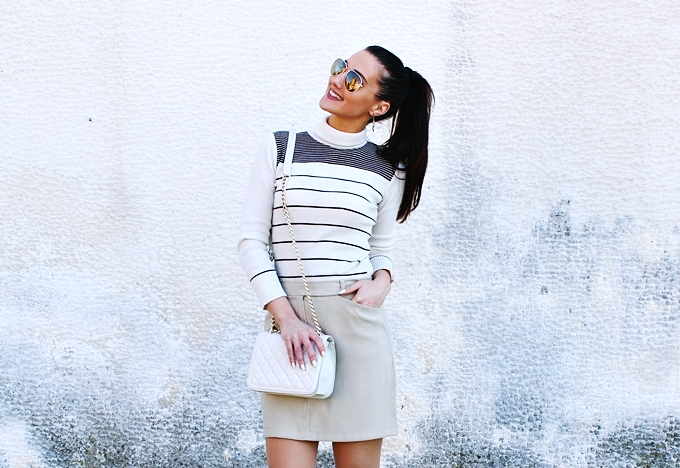 Mexx mini skirt.Beige striped turtleneck.Zara chain purse.H&M sunglasses, earrings and cuff.