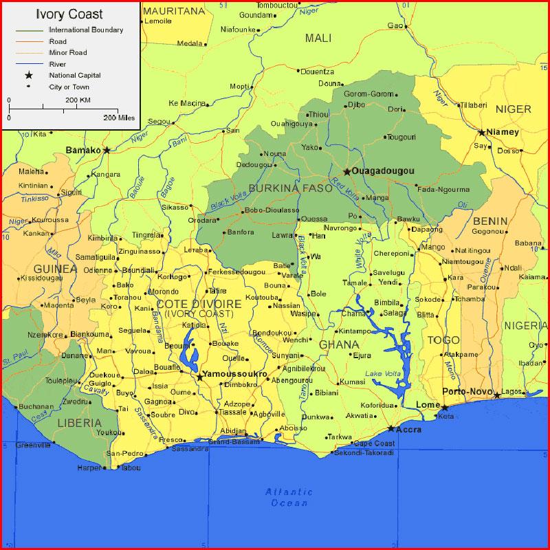 √ Ivory Coast Map Africa   Sejarah Indonesia: Peta Dunia   204 Maps ...