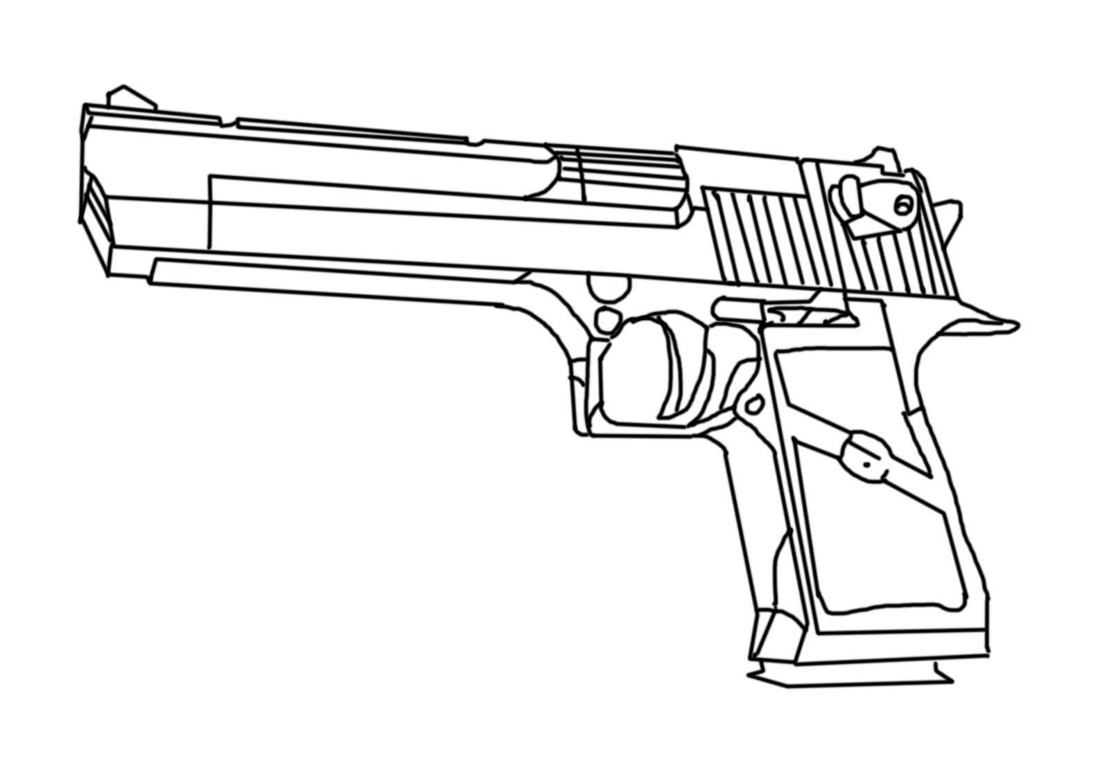 Desert Eagle Gun Line Drawing Sketch Coloring Page