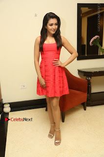 Actress Catherine Tresa Latest Pos in Red Short Dress at Intex Air Conditioners Launch  0032.jpg