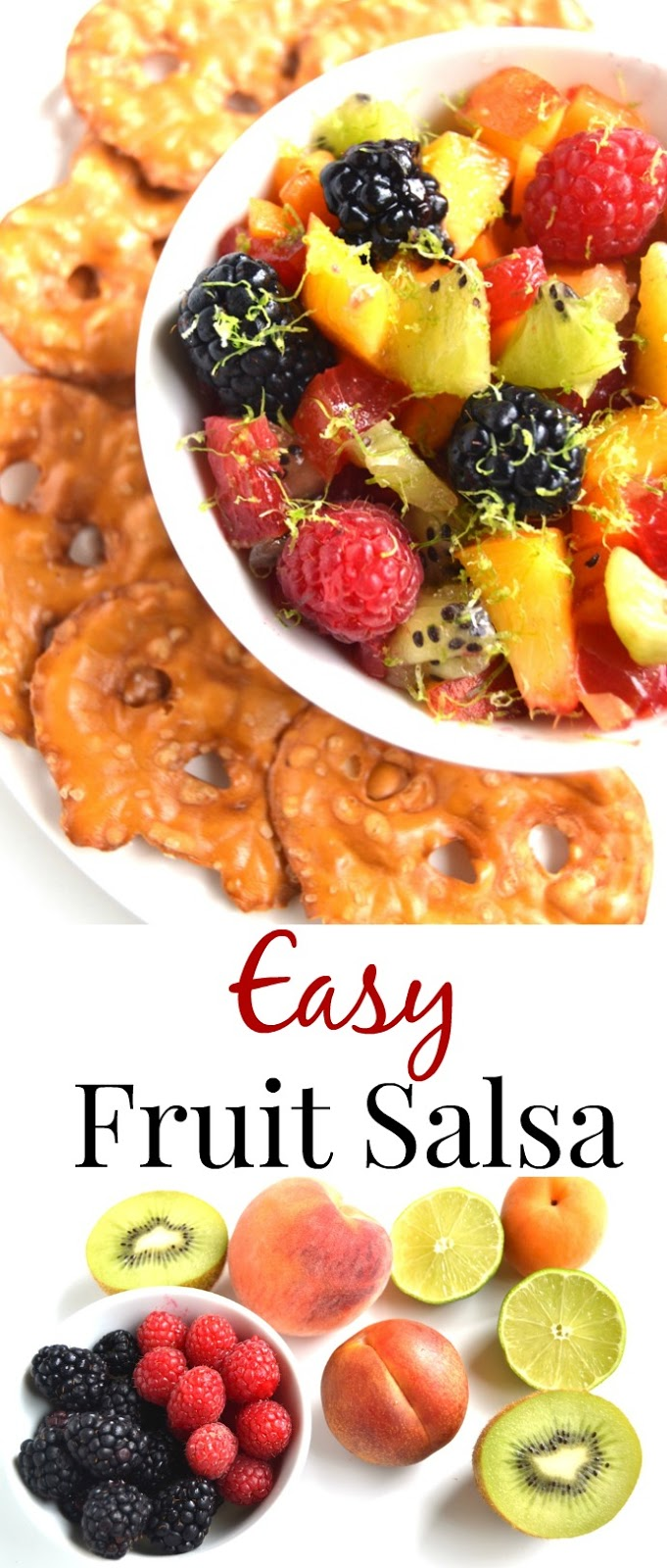 This Easy Fruit Salsa with lime dressing takes 5 minutes to make, is the perfect healthy snack and is completely customizable! www.nutritionistreviews.com
