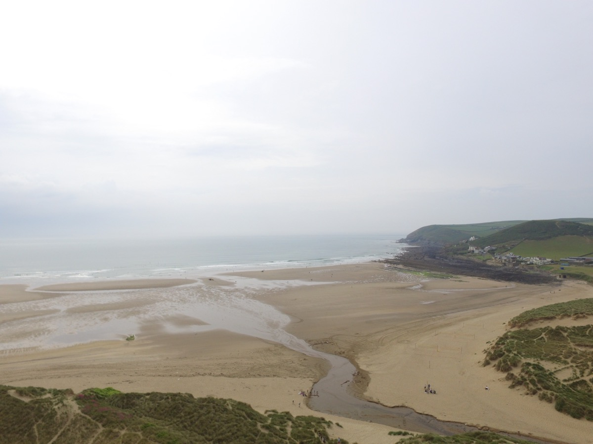 Looking out over Croyde Bay, North Devon - drone view - Simon's JamJar