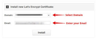 Select Domain Install SSL Certificate