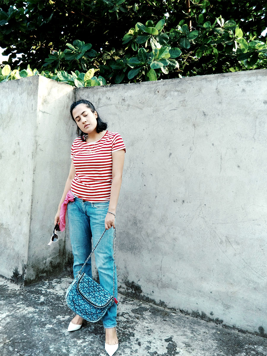 Mango womens Red Stripe T-Shirt , Levi's womens Blue Denim, Zara White Slingback heels,styleblogger