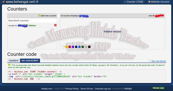 Cara Memasang Histats Tracker Di Blog AMP Untuk Mengetahui Total Visitor - BeHangat.Net