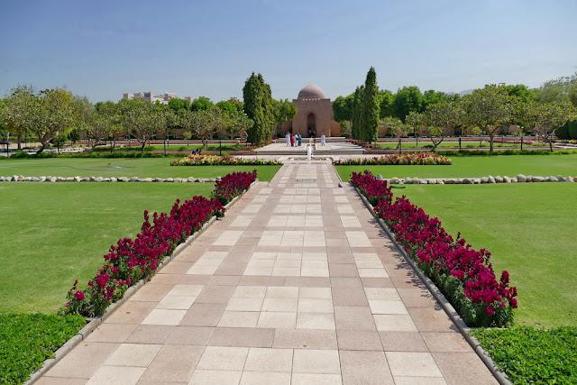 geometrisch, Garten, Anlage, gross, Sultan, Qabus, Moschee, Muscat, Oman, Rasen, Blumen