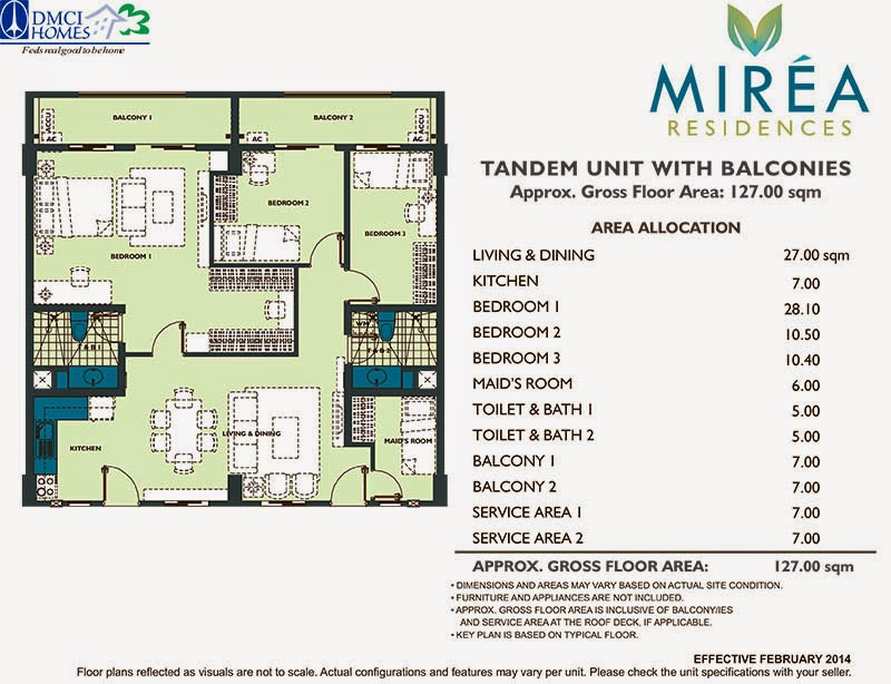 Mirea Residences 3-Bedroom w_Maid's Room Tandem Unit 127.00 sqm.