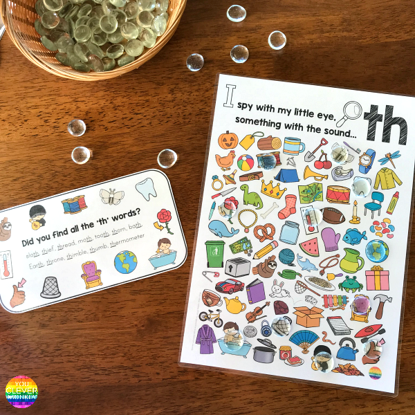 Printable Digraph Activities for /th/ sound - sound mazes in colour and black and white plus I Spy game | you clever monkey