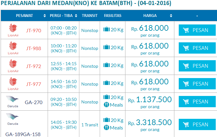 Harga Tiket Pesawat Dari Medan Ke Batam Tanggal 4 Januari