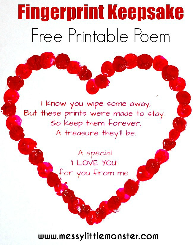 Fingerprint heart keepsake poem.  Get you FREE PRINTABLE VALENTINES or MOTHERS DAY POEM and add fingerprints. A cute and easy heart craft for babies, toddlers and preschoolers, eyfs.