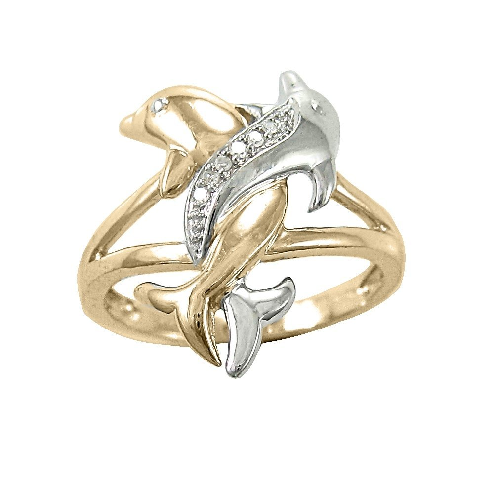 two tone gold diamond accent intertwined dolphin ring elegant rings - Dolphin Wedding Rings