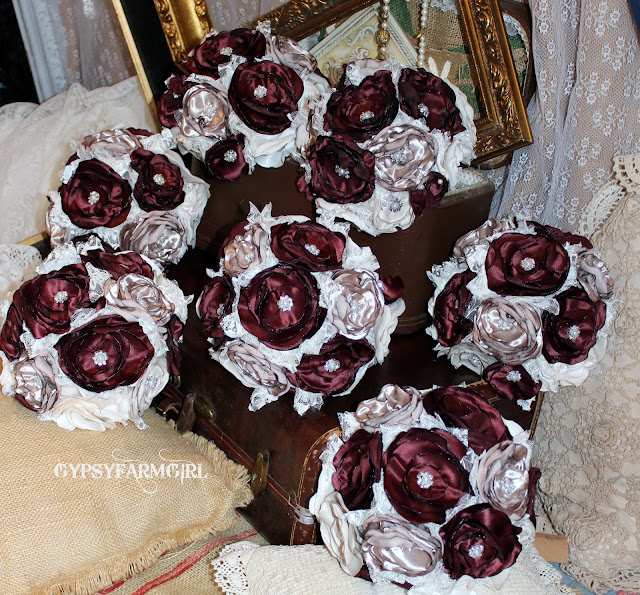 wine satin fabric wedding bouquets