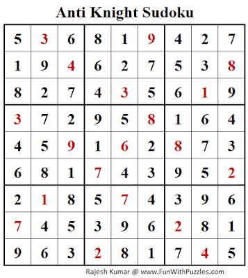 Answer of No Knight Step Sudoku Puzzle (Fun With Sudoku #266)