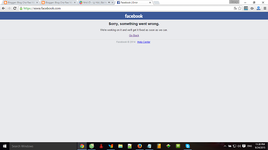 Hôm nay lúc 23H27p Facebook bị lỗi Sorry, something went wrong.