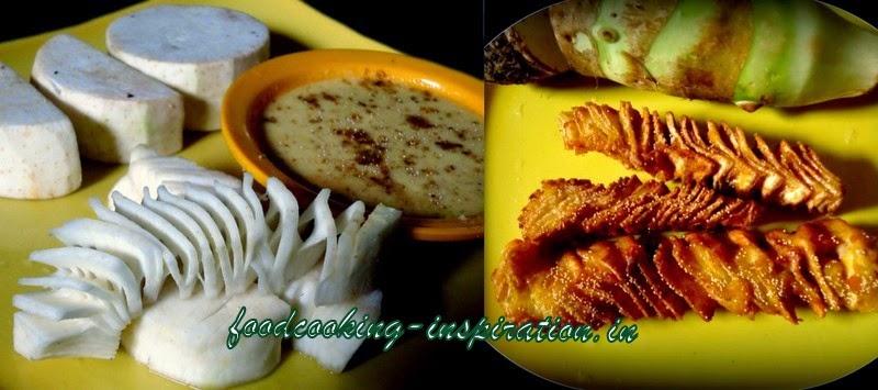 hot and spicy taro chips, shola kochu bhaja