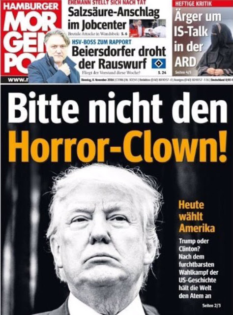 German magazine cover featuring Donald Trump.  Bitte nicht den horror Clown. 'Please do not use the horror clown'.  Lugenpresse - The Lying Press. Hitler and the lying press, and Trump and the fake news. marchmatron.com