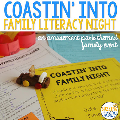 https://www.teacherspayteachers.com/Product/Amusement-Park-FamaLooking for ideas for a family literacy night? Check out these eight amusement park themed stations complete with the materials you need for hands-on activities in reading, writing, listening, and speaking! There's even a make-and-take word game activity, a partner play, writing activities, a fun food craft, and even more fun ways for parents and kids to interact around literacy. An editable flyer to invite parents to the event plus other editable materials are included! #familyliteracynight #familyliteracyactivitiesily-Literacy-Night-editable-4317019