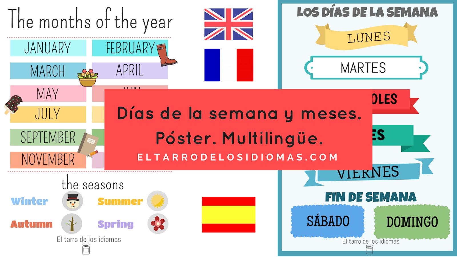 Well-known Póster meses del año y días de la semana (español, inglés y  LQ17