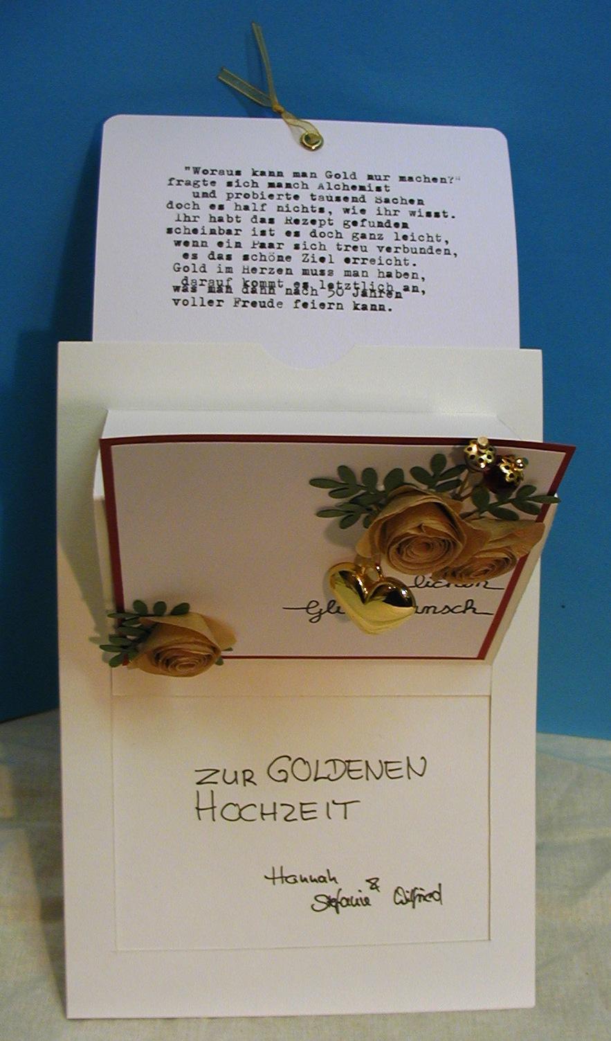 Steffies Hexenhaus Pop Up Slider Karte Zur Goldhochzeit