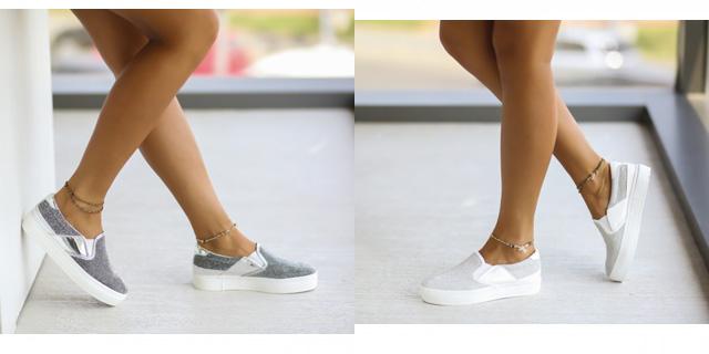 Espadrile de femei albe, argintii casual ieftine la moda