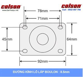 Bảng vẽ kích thước tấm lắp bánh xe cao su càng bánh xe inox 304 | 2-3308SS-444