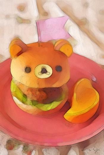 水彩画のハンバーガー(リラックマ)
