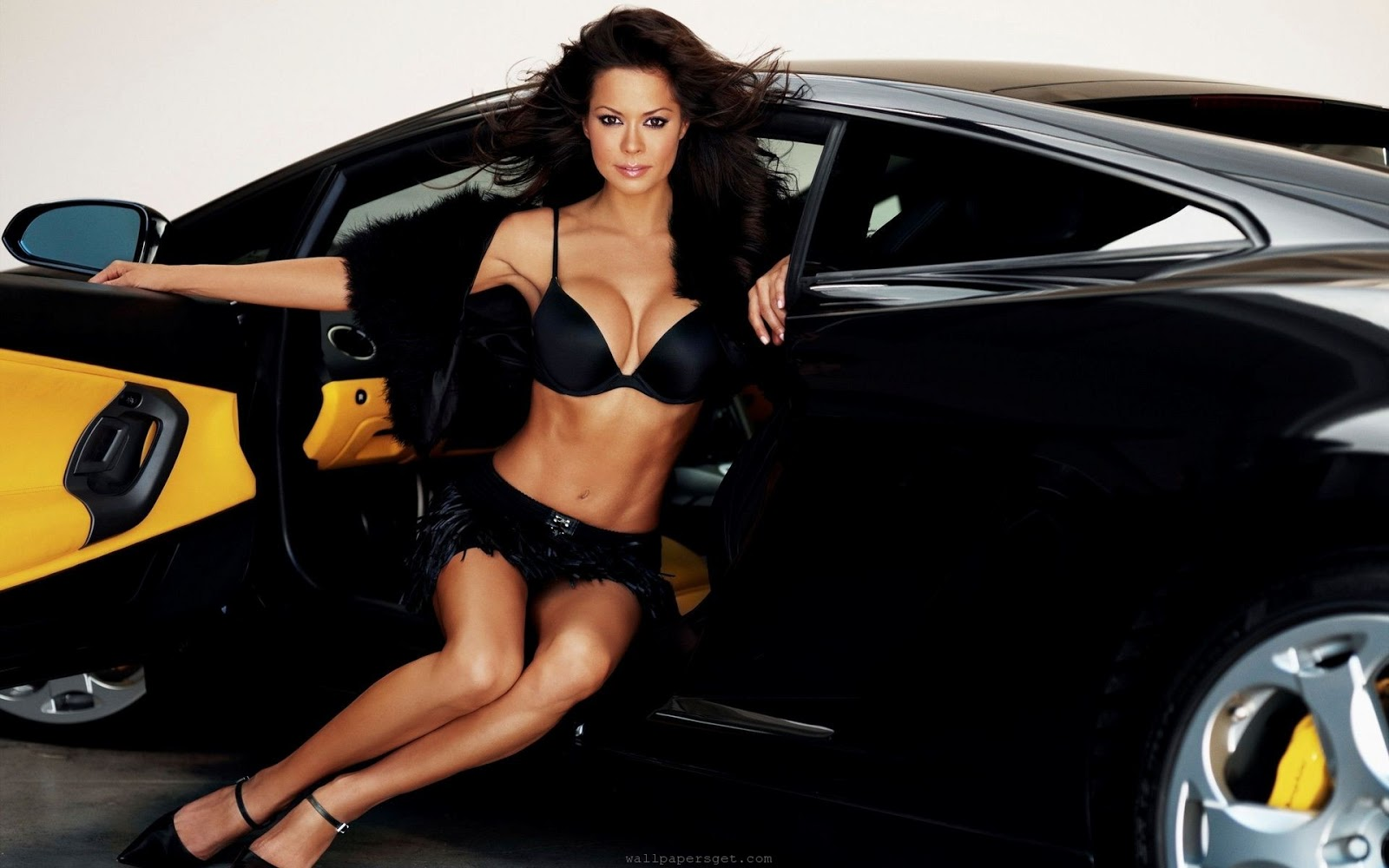 brooke burke usa supermodel lingerie y woman lamborghini