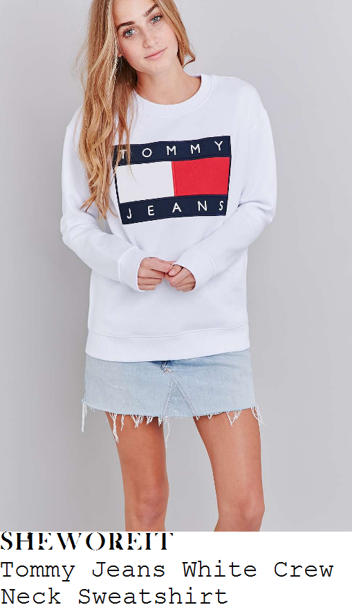 perrie-edwards-tommy-jeans-bright-white-navy-blue-and-red-tommy-jeans-colour-block-logo-detail-long-sleeve-relaxed-fit-sweatshirt