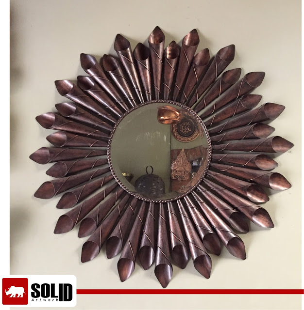 copper flower buds mirror frame