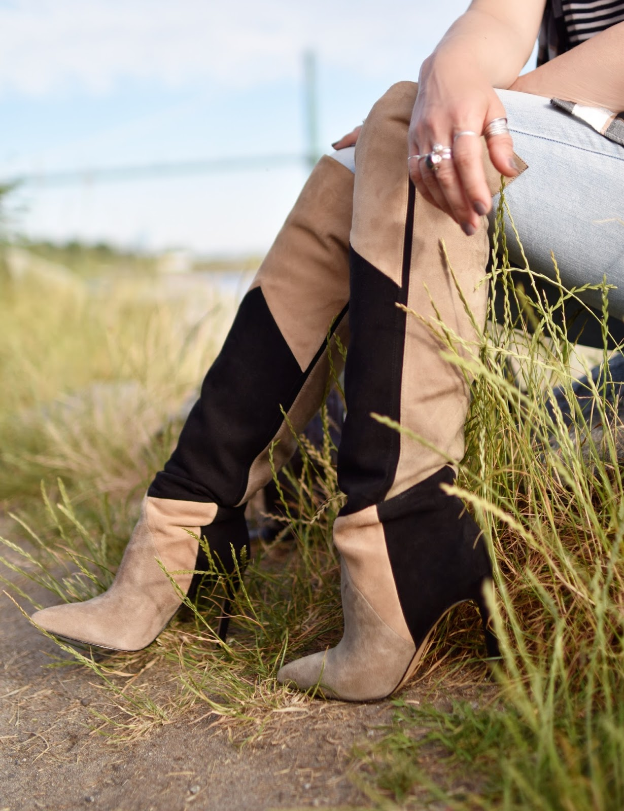 Monika Faulkner personal style inspiration - Aldo patchwork suede over-the-knee boots