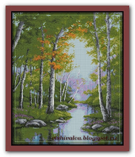 "Download embroidery scheme Rogoblen 6.82 ""Embracing Birches"""