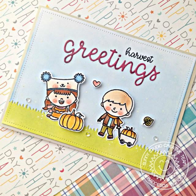 Sunny Studio Stamps: Fall Kiddos Greetings Word Die Harvest Greetings Card with Franci Vignoli