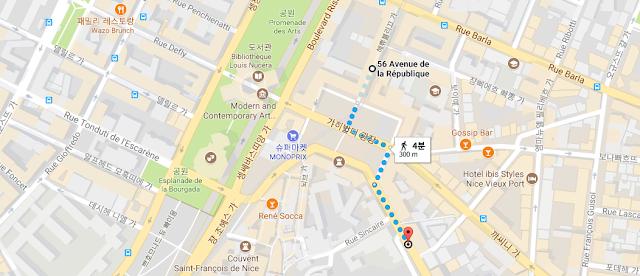 니스에서 에즈 가는 버스정류장 지도