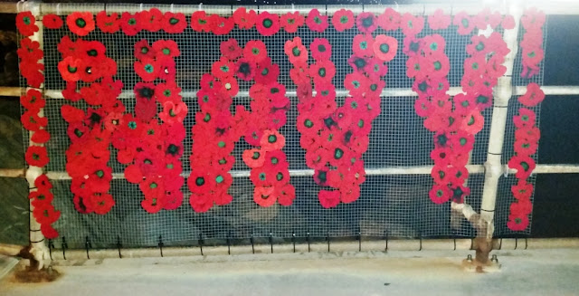 "Red poppies, crocheted and knitted, arranged to form the words ""NAVY"" bordered by poppies on a rectangular mesh frame which is attached to the railings of Brighton Jetty."