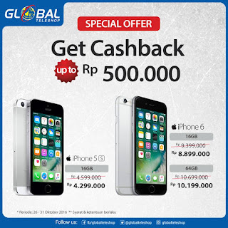 Global Teleshop Promo iPhone Cashback Hingga Rp 500 Ribu