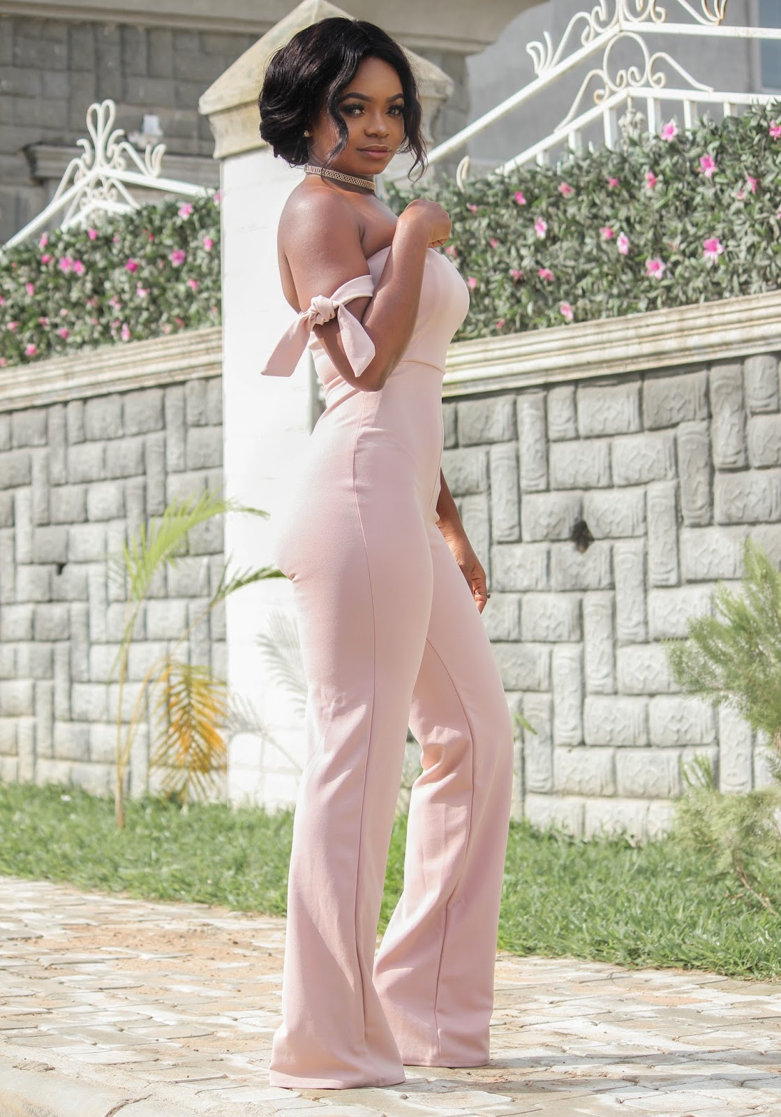 NUDE JUMPSUIT - Hot Miami Styles Off Shoulder Jumpsuit in Nude Color