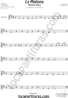 "Clarinete Partitura de La Mañana ""El Amanecer"" Sheet Music for Clarinet Music Score Morning"
