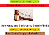 Insolvency and Bankruptcy Board of India Recruitment 2018 – 18 Assistant Manager
