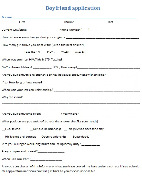 Boyfriend Application Questions - Bing images