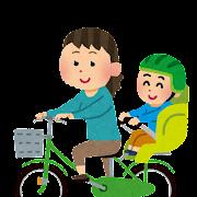 自転車の二人乗りのイラスト「お母さんとチャイルドシートに乗った子供」