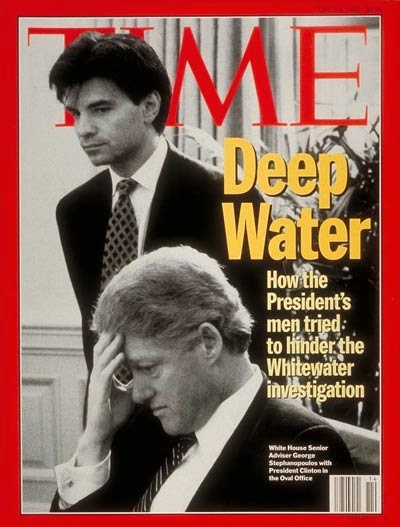 TIME magazine cover Bill Clinton Deep Water. How the president's men tried to hinder the Whitewater investigation.