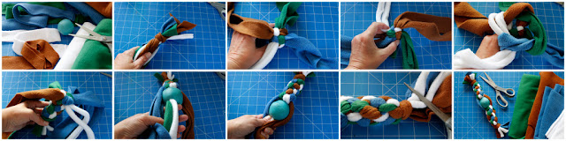 DIY fleece dog tug toy with a ball in the middle, step-by-step how to make