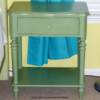 green painted one drawer night stand
