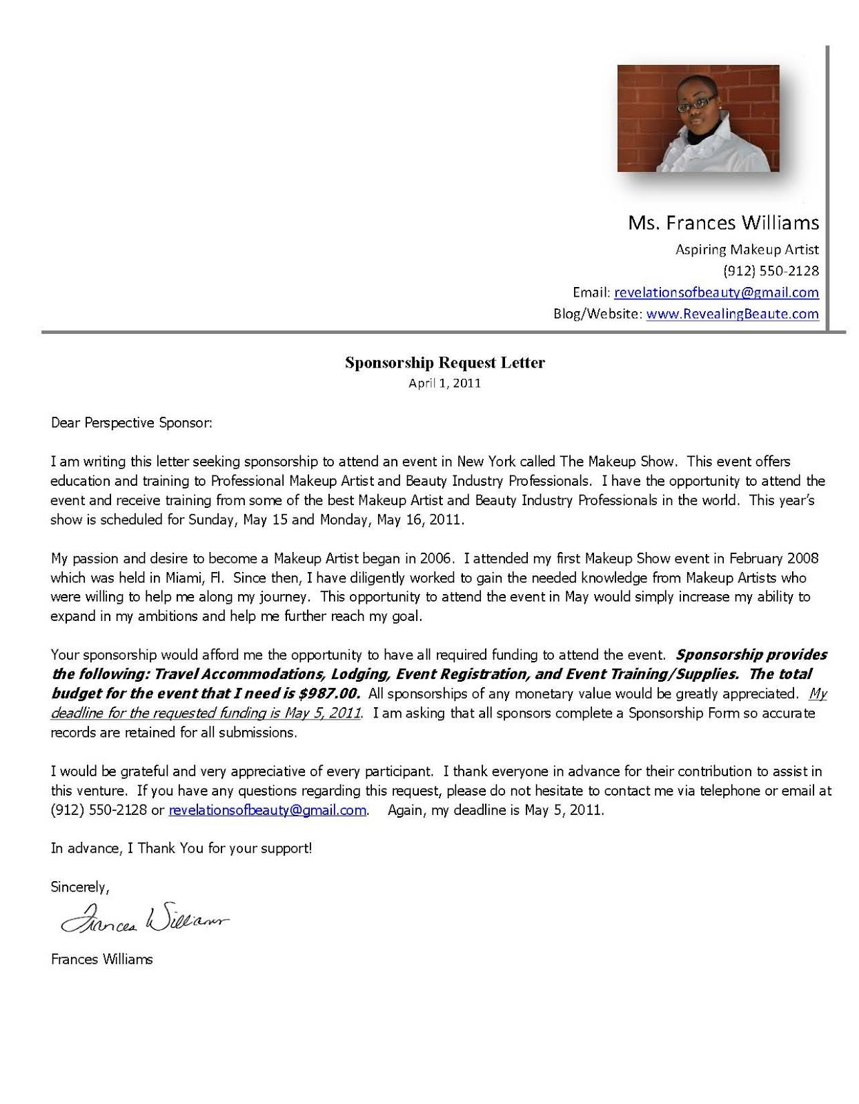 Softball Sponsorship Letter Template  Application For Sponsorship Template