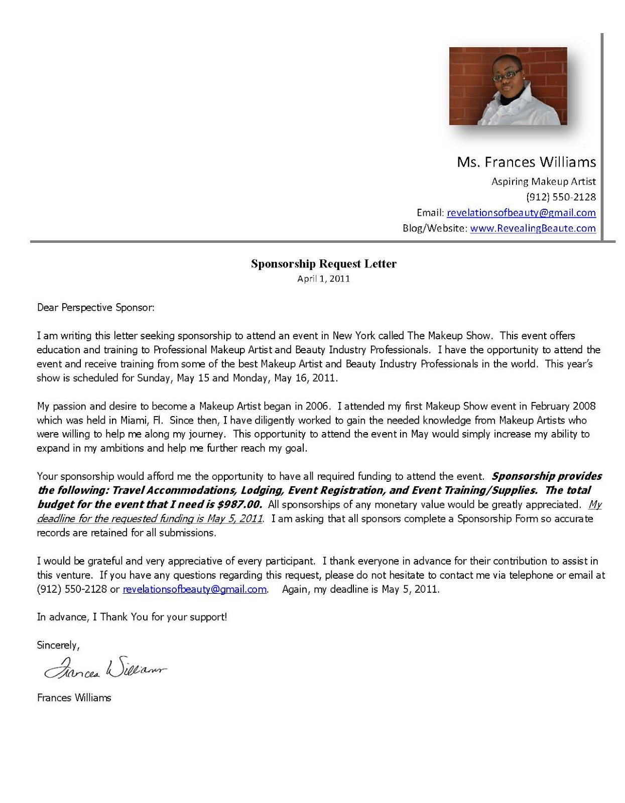 sponsorship request letter template Success