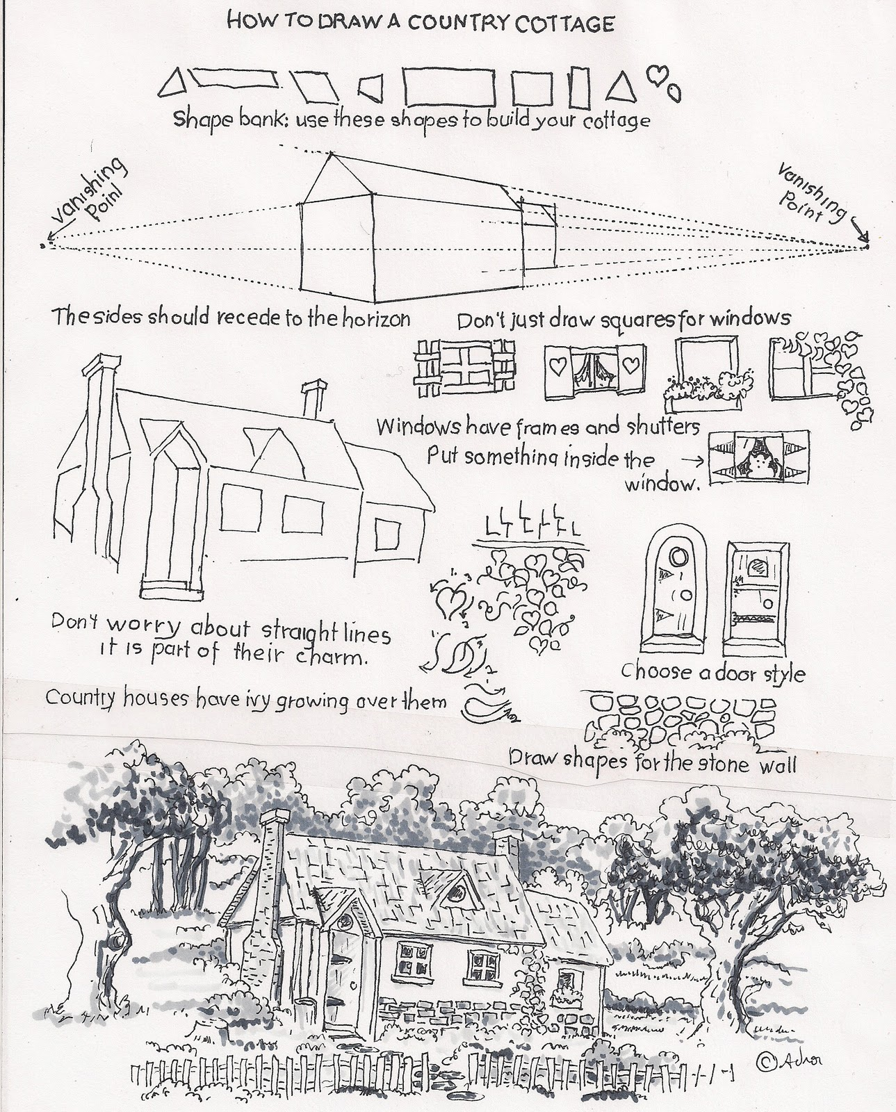 How To Draw Worksheets For The Young Artist How To Draw A Country Cottage