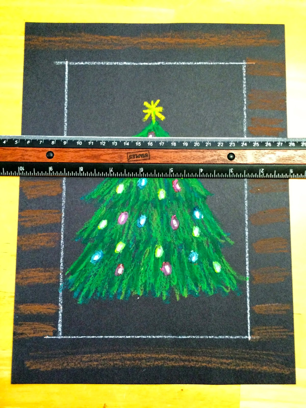 Kathy S Art Project Ideas Oil Pastel Christmas Tree In A