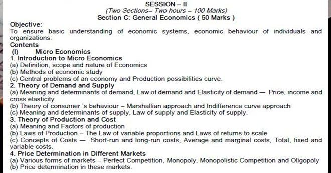 CA CPT SYLLABUS  GENERAL ECONOMICS