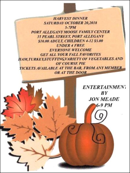 10-20 Harvest Dinner, Port Allegany Moose